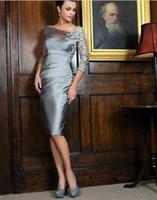 2017独特の銀の膝丈シースの花嫁のドレスオフショルダーレース3/4長袖ショートイブニングドレス