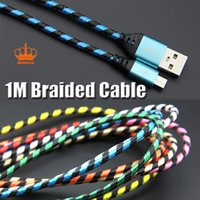 New Braided 1M Micro USB Two- tone Colorful Charging wire Syn...