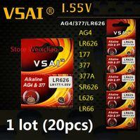 20 unids 1 lote AG4 LR626 177 377 377A SR626 L626 LR66 1.55V pilas alcalinas de botón de batería de pila VSAI Envío Gratis