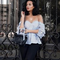 Women Summer Striped Sexy Off Shoulder Blouses shirts 2017 N...