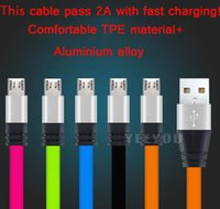 Universal Metal Flat Noodle Micro USB fast charging Cable 3F...