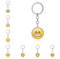 Hot sale Emoticons Smile Time Gemstone Key Chain Metal Glass...
