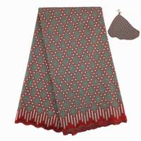 Merletto svizzero africano del voile di alta qualità, 876 Trasporto libero (5 yarde / pacchetto), vestiti del merletto del partito di cerimonia nuziale africana 100% del cotone