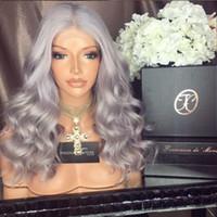 Gri Renk Uzun Dalgalı İnsan Saç Dantel Ön Peruk Gri Saç Kadınlar için Tam Dantel İnsan Saç Peruk