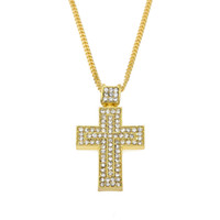 Hombres Mujeres Oro Plata Color Iced Out Rhinestone Crystal Cross Colgante Collar 24 'Cadena Cubana Moda Hip hop Joyas