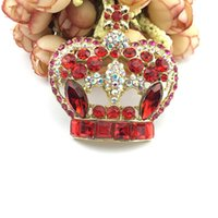 55mm Regina per il giorno Spilla con corona di strass rosso brillante, spilla pettine per capelli con diadema rosso, spilla da sposa con corona di cristallo