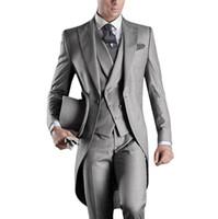 도매 - 베스트 셀러 2016 사용자 정의 맘대로 남성 Tailcoat 그레이 웨딩 정장 남성용 신랑 남성 턱시도 정장 (자켓 + 바지 + 조끼)