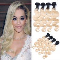 Dark Root #1B 613 Blonde Ombre Brazilian Body Wave Human Hai...