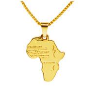 Рок хиппи небольшой Африканская карта ожерелье 18k настоящее позолоченные цепи длинные ожерелья партия ювелирных изделий Мужские подарки