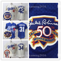 Los Angeles Dodgers 31 Mike Piazza 50 Anniversary Logo Maillots de baseball 42 Jackie Robinson Fernando Valenzuela Throwback Mesh MLB Jersey