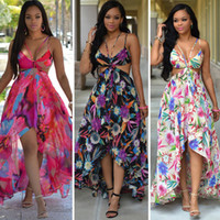 Printed sling dresses bohemian hang neck formal summer long ...