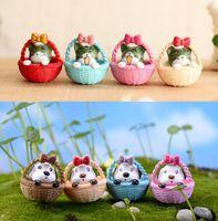 8pcs Cartoon Basket Cat And Dogs Fairy Garden Garden Miniature Gnome Moss Terrario Jardin Resin Artigianato Bonsai Home Decor