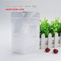 16 * 24 + 4 cm Más gruesos Bolso de pie autosuficiente de aluminio puro Embalaje de almacenamiento de alimentos Cosméticos Embalaje de máscaras Spot 100 / paquete