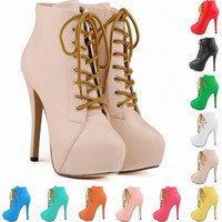 10 Colors Patent New Arrived Nightclub High Heels Lace- up Pl...