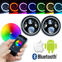 2pcs 7 Inch Round Projector Daymaker LED Headlights RGB Halo...