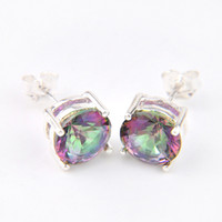 10 Pcs Lot High Quality Fashion Jewelry 4 Prong Round Mystic Fire Topaz Silver Plated 925 For Women Men Stud Earrings Free Shipping