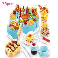 75 Stücke Küche Spielzeug Pretend Spielen Schneiden Geburtstag Kuchen Lebensmittel Spielzeug Geschirr Cocina De Juguete Kunststoff Spielen Essen Tee-Set