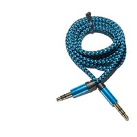 アルミメタルアダプターナイロン波編組コード3.5mmステレオオーディオAUXケーブル1M 3FT 200ピース/ロット