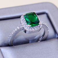 Tamanho 5-10 Novas Mulheres Moda Jóias 925 Sterling Silver Emerlad CZ Diamante Almofada Forma Anel de Noivado Para O Presente Dos Amantes