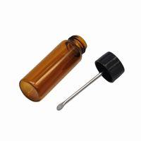 65 мм Высококачественные / коричневые стекла курение для курения металла металлическая проложка ложка Spice Pullet Snorter Box хранения бутылки оптом