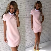 Summer Dress Robe 2017 Women Turn-down Collar Abiti da ufficio manica corta Casual Mini abito dritto vestidos Mujer Pink