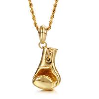 تصميم جديد نمط الرياضة مجوهرات هدايا رجالي الذهب السائق الفولاذ المقاوم للصدأ قفازات الملاكمة لامعة 50 ملليمتر * 24mm قلادة قلادة 22 ''