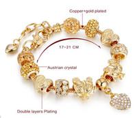 Kc kaplama takı için şık altın bilezik, kalp kolye charms bilezikler halhal, büyüleyici kadınlar için altın bilezikler