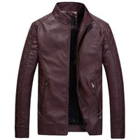 Black Leather Jackets For Men Winter Fur Slim Fit Pu Jacket ...