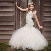 Mermaid Lace Flower Girl Dress for Weddings 2017 Handmade 3D...
