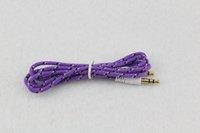 3.5mm stereo audio aux kabel gevlochten geweven stof draad extra koorden jack mannelijke naar mannelijke m / m 1 m leiding voor iPhone Samsung mobiele telefoon 500ps