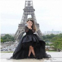 2017 Long Sleeves Little Girls desfile vestidos negro High Low joya Flower Girl Dresses para adolescentes formal vestidos de comunión sagrada