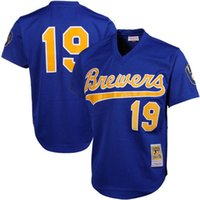 Milwaukee Brewers Hommes # 19 Robin Yount Throwback Jersey Mitchell Mesh Batting Pratique Baseball Maillots