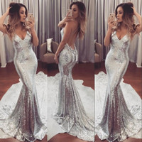 Amazing Silver Sparkling Prom Dress Sexy Deep V-Neck Open Backless Sweep Train Vestidos de festa formal 2017 New Fashion Evening Gowns para adolescentes