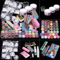 Wholesale- 2017 New Arrival Hot 37 Professional Acrylic Glitter Color  French Nail Art Deco Tips Set for Women Beauty