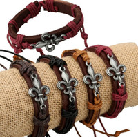 Brand new New leather leather hemp rope bracelet FB080 mix o...