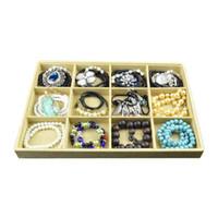 Caja de almacenamiento Organizador de lino Bandeja de mostrador Bandeja de exhibición de la joyería para colgante, collar, pendientes, anillo, pulsera