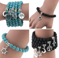Newest Natural Lava Stone Turquoise Prayer Beads Charms Brac...