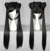 100% Новый высокое качество мода картина полный кружева wigsLong черный прямые Леди девушка Лолита парик с двумя хвостами дизайн парик