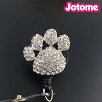 New Custom Bling Rhinestone 3D Puppy Paws Badge Reel Retract...