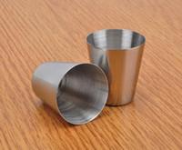 الجملة -30 مل المحمولة الفولاذ المقاوم للصدأ النار نظارات برواري البيرة النبيذ شرب كأس الزجاج في الهواء الطلق