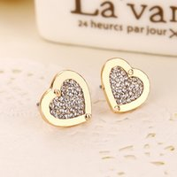 New York Fashion Brand Tone earrings Heart love Crystal eari...