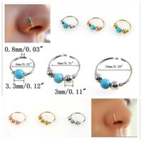 2017 New turquoise Bead nose hoop Nose ring Lip rings Ear bo...
