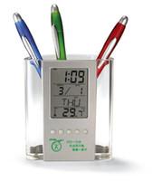 Дешевые прозрачный электронный будильник календарь держатель пера ручка офис бизнес подарки индивидуальные рекламы