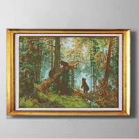 Ursos na floresta de pinheiros, DIY handmade Cross Stitch Needlework Conjuntos kits de bordado pinturas contados impressos em lona DMC 14CT / 11CT