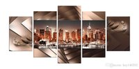 YIJIAHE Modern Print Canvas Painting Night Night View 5 шт. Холст Art Wall Pictures Для гостиной Wall Wall A5 в рамке