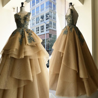 Khaki Prom Dresses Sleeveless Sheer Neck Backless Applique T...