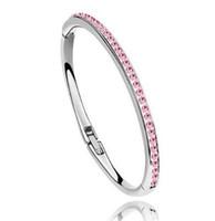 Mujeres diamantes de cristal pulsera del encanto del oro de 18 quilates de los brazaletes rosa llena de joyería de moda de regalo de Navidad