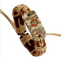 麻ロープ織り編組革ブレスレットヴィンテージスタイルのパイログラフ熱転写印刷平和サインチャームブレスレット男性女性