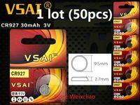 50pcs 1 개 CR927 3V 리튬 이온 버튼 셀 배터리 CR 927 3 볼트 리튬 이온 배터리 VSAI 무료 배송