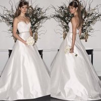 Elegant A- line Sweetheart Wedding Dress Satin Lace Top Beade...